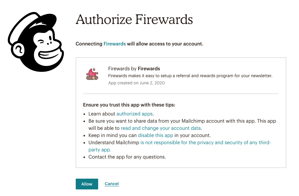 Mailchimp Referral Campaign - Authorize Firewards to Setup Referral Program