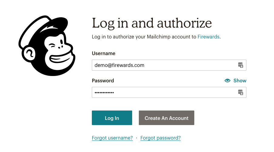 Firewards and Mailchimp Friend Referrals - Login to Mailchimp